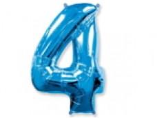 Folijas balons 96cm XXL - cipars 4, zils