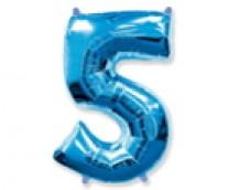 Folijas balons 96cm XXL - cipars 5, zils