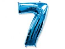 Folijas balons 96cm XXL - cipars 7, zils