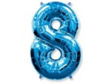 Folijas balons 96cm XXL - cipars 8, zils