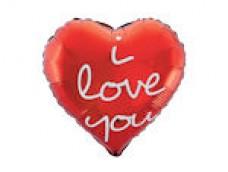 """Folijas balons sirds, sarkana, """"i love you"""", 46cm"""