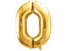 Folijas balons 86cm XL - cipars 0, zelts