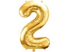 Folijas balons 86cm XL - cipars 2, zelts