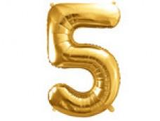Folijas balons 86cm XL - cipars 5, zelts