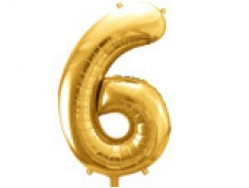 Folijas balons 86cm XL - cipars 6, zelts