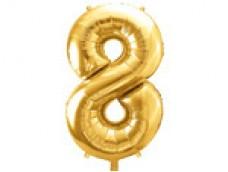Folijas balons 86cm XL - cipars 8, zelts