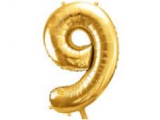 Folijas balons 86cm XL - cipars 9, zelts