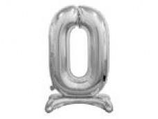 Folijas balons 74cm L - cipars 0, sudraba, stāvošs, tikai gaisam