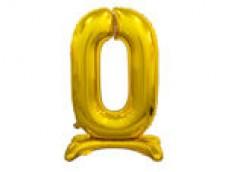Folijas balons 74cm L - cipars 0, zelta, stāvošs, tikai gaisam