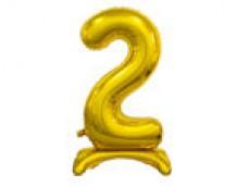 Folijas balons 74cm L - cipars 2, zelta, stāvošs, tikai gaisam