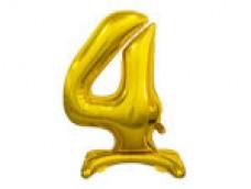 Folijas balons 74cm L - cipars 4, zelta, stāvošs, tikai gaisam