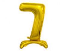 Folijas balons 74cm L - cipars 7, zelta, stāvošs, tikai gaisam