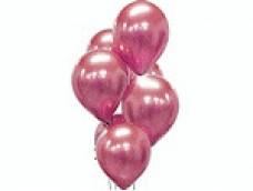 Baloni metāliski, hroma, rozā, platinum, 30 cm, 50 gab.