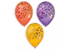 Baloni 33cm, Konfeti - krāsaini, GEMAR