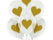 Baloni Konfeti, zelta, sirds, BelBal, 29cm