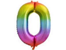 Folijas balons 86cm XL - cipars 0, krāsains