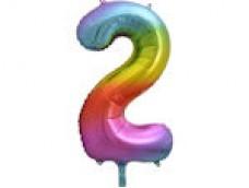 Folijas balons 86cm XL - cipars 2, krāsains