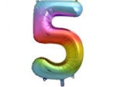 Folijas balons 86cm XL - cipars 5, krāsains