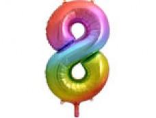 Folijas balons 86cm XL - cipars 8, krāsains