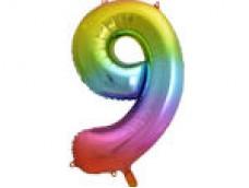 Folijas balons 86cm XL - cipars 9, krāsains
