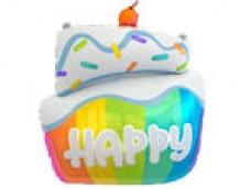 """Folijas balons 60cm - ar uzrakstu """"Happy"""", kūka"""