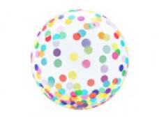 Folijas balons 46cm - bumba, Crystal confeti, mix