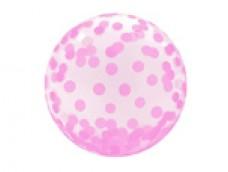 Folijas balons 46cm - bumba, Crystal confeti, rozā
