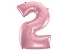 Folijas balons 96cm XXL - cipars 2, rozā, gaiši