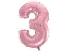 Folijas balons 96cm XXL - cipars 3, rozā, gaiši