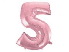 Folijas balons 96cm XXL - cipars 5, rozā, gaiši