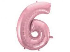 Folijas balons 96cm XXL - cipars 6, rozā, gaiši