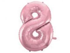 Folijas balons 96cm XXL - cipars 8, rozā, gaiši