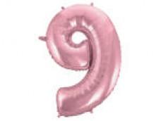 Folijas balons 96cm XXL - cipars 9, rozā, gaiši