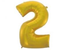 Folijas balons 96cm XXL - cipars 2, zelta, matēts