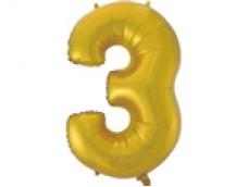 Folijas balons 96cm XXL - cipars 3, zelta, matēts