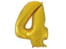 Folijas balons 96cm XXL - cipars 4, zelta, matēts