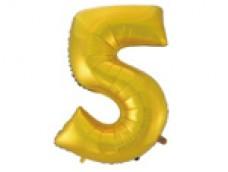 Folijas balons 96cm XXL - cipars 5, zelta, matēts