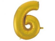 Folijas balons 96cm XXL - cipars 6, zelta, matēts