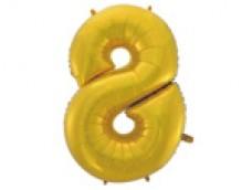 Folijas balons 96cm XXL - cipars 8, zelta, matēts