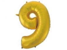 Folijas balons 96cm XXL - cipars 9, zelta, matēts