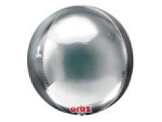 Folijas balons 40cm XL - bumba, ORBZ, sudraba
