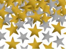 Dekors - konfeti 5g paciņā, plastikāta, zelta, sudraba