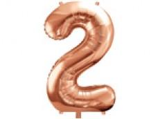 Folijas balons 86cm XL - cipars 2, rozā zelts