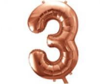 Folijas balons 86cm XL - cipars 3, rozā zelts