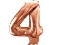 Folijas balons 86cm XL - cipars 4, rozā zelts