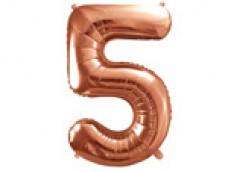 Folijas balons 86cm XL - cipars 5, rozā zelts