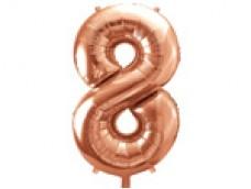 Folijas balons 86cm XL - cipars 8, rozā zelts