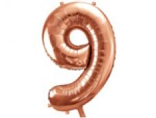 Folijas balons 86cm XL - cipars 9, rozā zelts