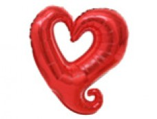 Folijas balons 60cm - Flexmetal, Sirds, sarkana, atvērta Y