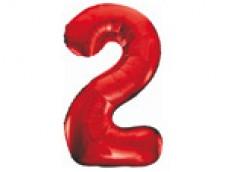 Folijas balons 86cm XL - cipars 2, sarkans